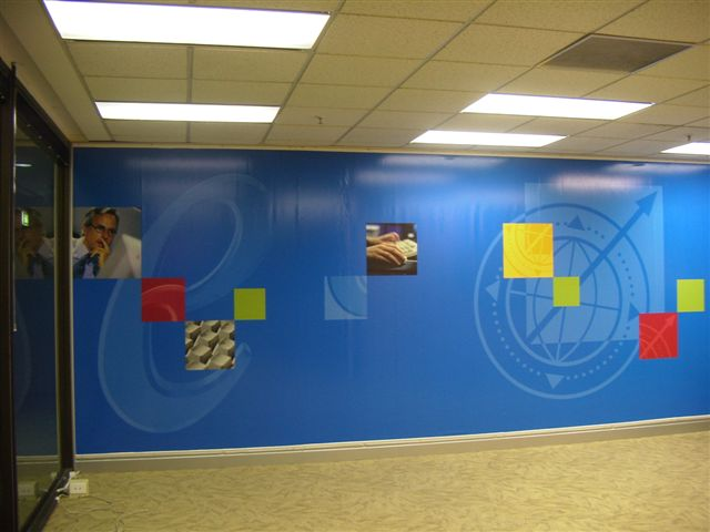 Offices walls covered with vinyl using BannerGrip